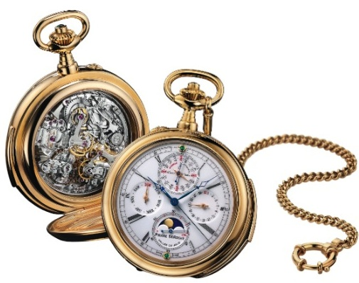 Reynold: Grand complication with original LeCoultre movement 21''' (minutes repeater, chronograph, Q.P. with moon phase) is a tribute to Pierre's grandfather; gold case and chain, enamel dial with 2 emeralds