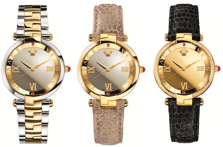 i tre segnatempo di Versace puntano sul colore dell'oro