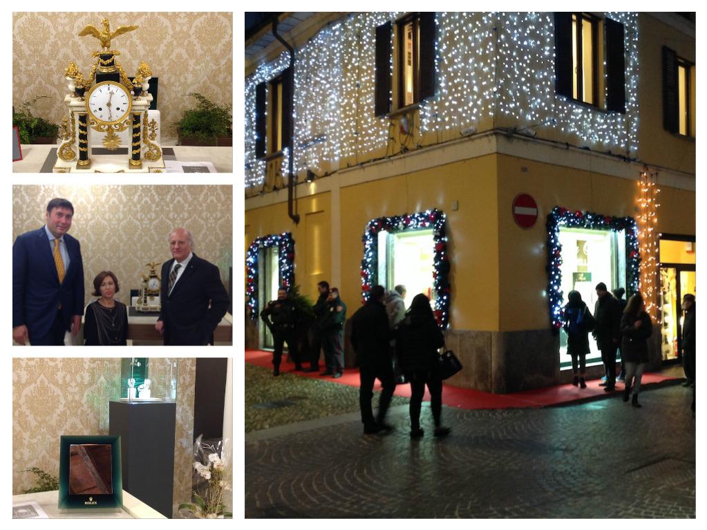 La gioielleria Colla in corso Cavour, ang.via Pusterla, Roberto e Nadia Colla con Gabriele Ribolini